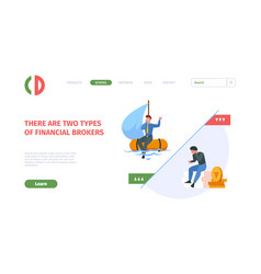 financial crisis landing page business loses vector image