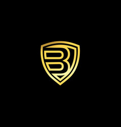 Gold shield logo design for letter b metal vector