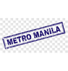 Grunge metro manila rectangle stamp vector