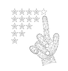Hand a man with an index finger putting down a vector