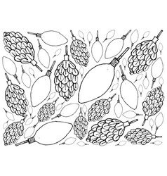 Hand drawn pine cone with christmas light backg vector