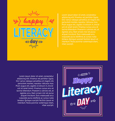 Happy literacy day posters set vector