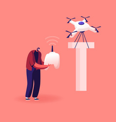 Happy man control quadcopter which carry huge vector