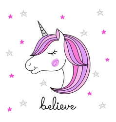 head of hand drawn unicorn on white background vector image