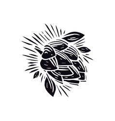 Hop in linocut style vector