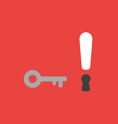 Icon concept of key and exclamation mark with vector