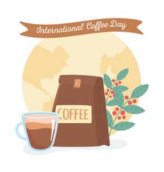 International day coffee package cup vector