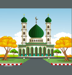 Islamic mosque in autumn vector
