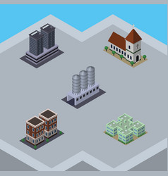Isometric building set of chapel water storage vector