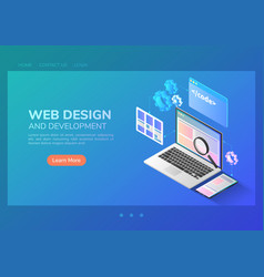 isometric website development and application vector image