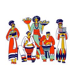 Kwanzaa celebration african characters vector