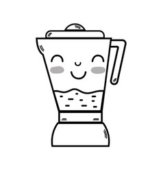 Line kawaii cute happy blender technology vector