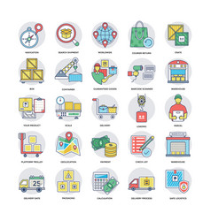 logistics and delivery flat icons collection vector image