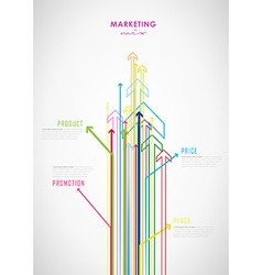 Marketing mix business infographic background with vector image