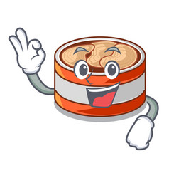 Okay canned tuna above character wooden table vector
