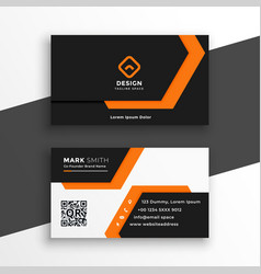 orange and white geometric business card design vector image