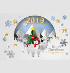 paper art and craft of christmas tree with vector image