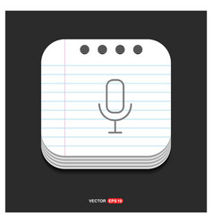 pictogram microphone icon gray icon on notepad vector image