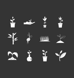 plant icon set grey vector image