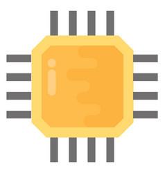Processor chip flat icon vector