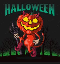 pumpkin devil dancing graphic vector image