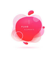 Red liquid blob with lines and circle vector