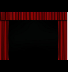 red open curtain in theater velvet fabric cinema vector image