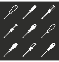 Screwdriver icon set vector image