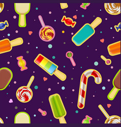 seamless pattern of sweets and ice cream vector image