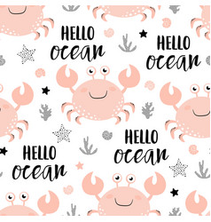 Seamless pattern with cute crab isolated on white vector
