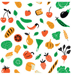 seamless pattern with healthy food organic vector image