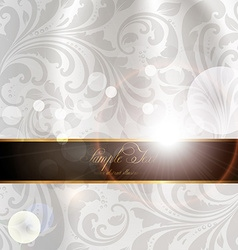 Seamless White Floral Spring Wallpaper with Banner vector