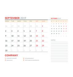 september 2019 week starts on monday calendar vector image