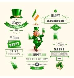 Set lettering Happy St Patricks Day vector image