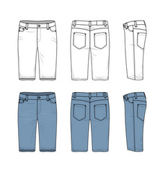set male jeans shorts vector image
