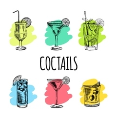 Set of cocktails and alcohol drinks Sketch vector