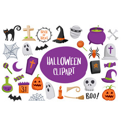 set of halloween element isolated on white vector image