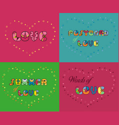 Set of romantic inscriptions for cards vector
