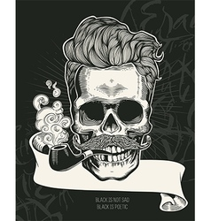 Skull Hipster skull silhouette with tobacco pipe vector