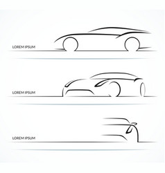 Sports car silhouette set vector image