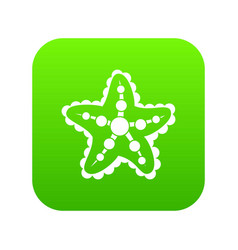 starfish icon digital green vector image