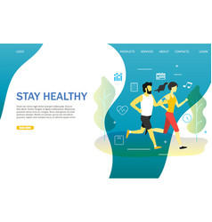 stay healthy landing page website template vector image