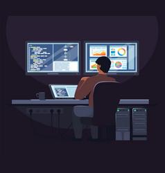 System administrator software developer working vector