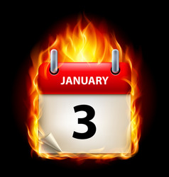 third january in calendar burning icon on black vector image
