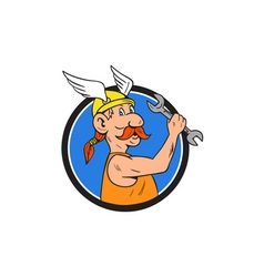 Viking Repairman Spanner Circle Cartoon vector