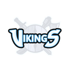 vikings sport logo emblem vector image