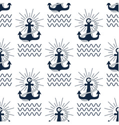 vintage retro anchor badge seamless pattern vector image