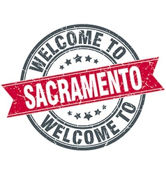 Welcome to Sacramento red round vintage stamp vector