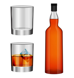 Whisky bottle glass mockup set realistic style vector