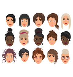 women heads character flat cartoon vector image